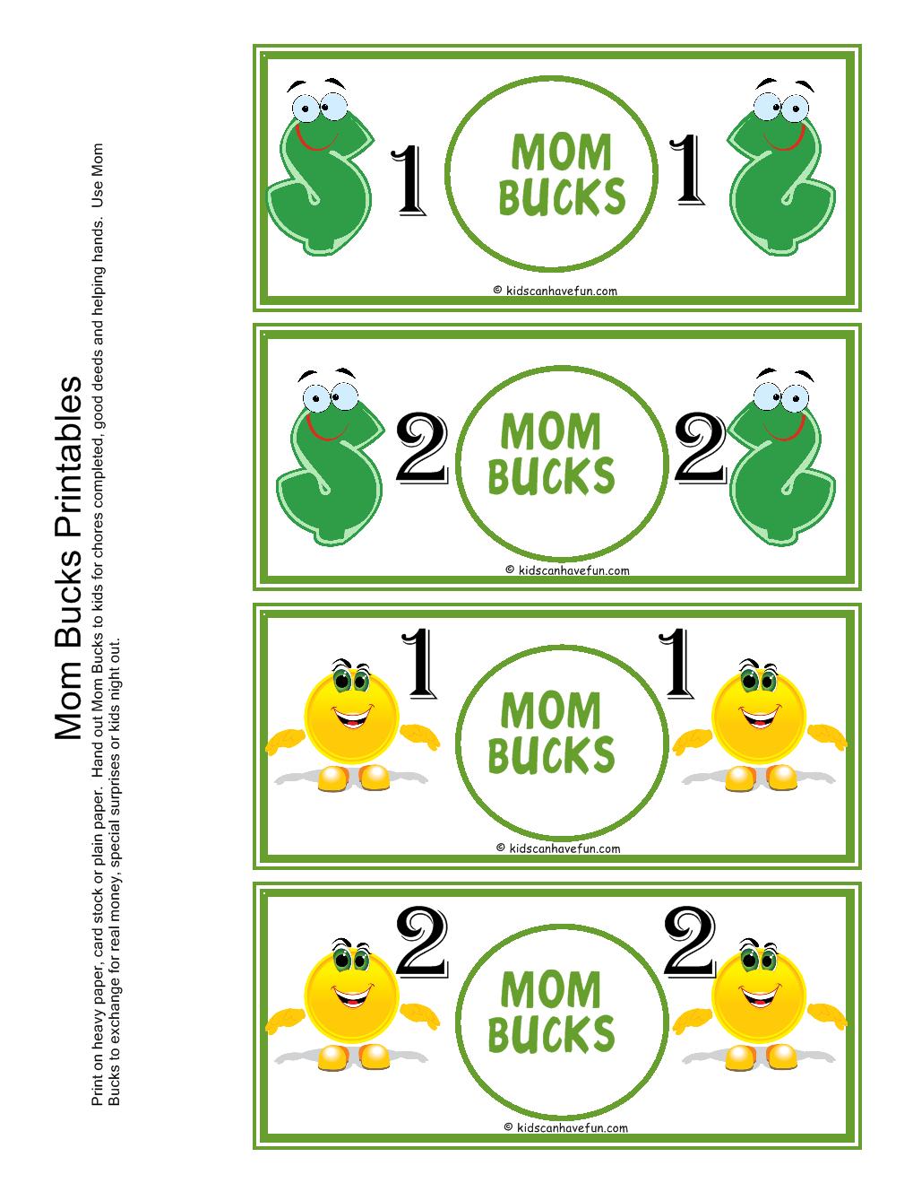 Mom Bucks For Kids. Kids Earn Mom Bucks From Doing Chores. | Misc - Free Printable Chore Bucks
