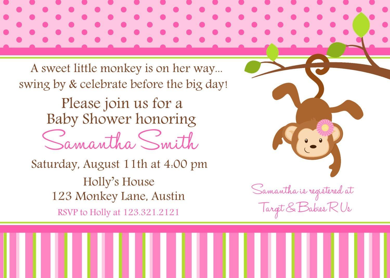 Monkey Baby Shower Invitation Blue Monkey Boy Personalized Baby - Free Printable Monkey Girl Baby Shower Invitations