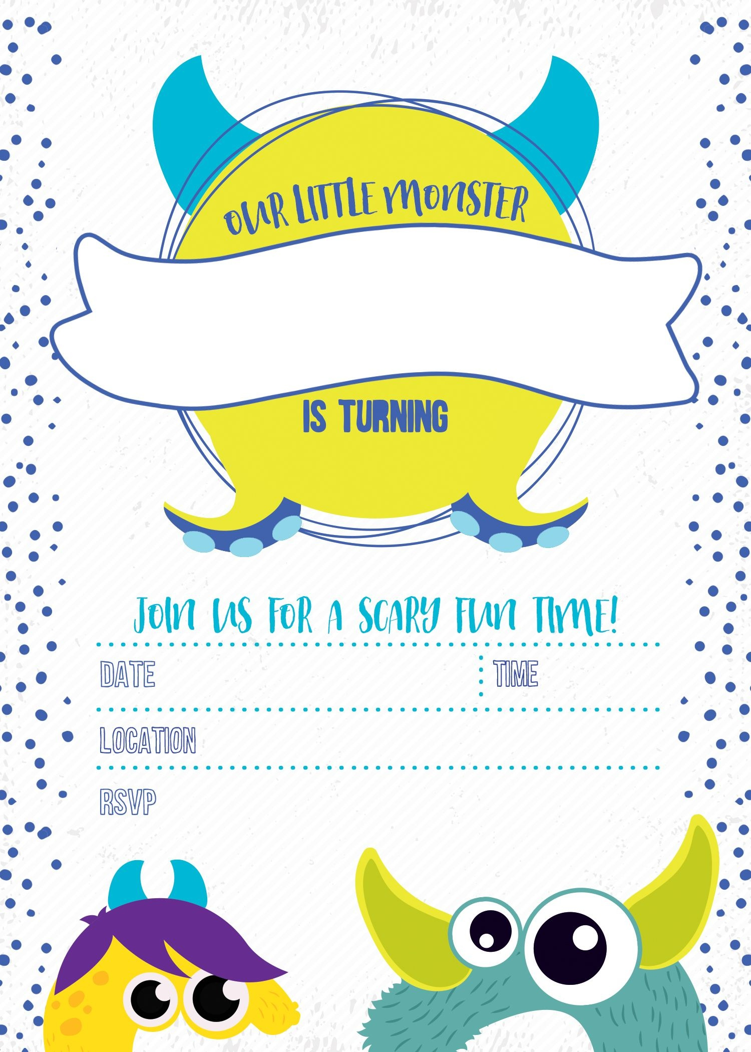 Monster Birthday Invitation Free Printable In 2019 | You Are My - Free Printable Birthday Invitations