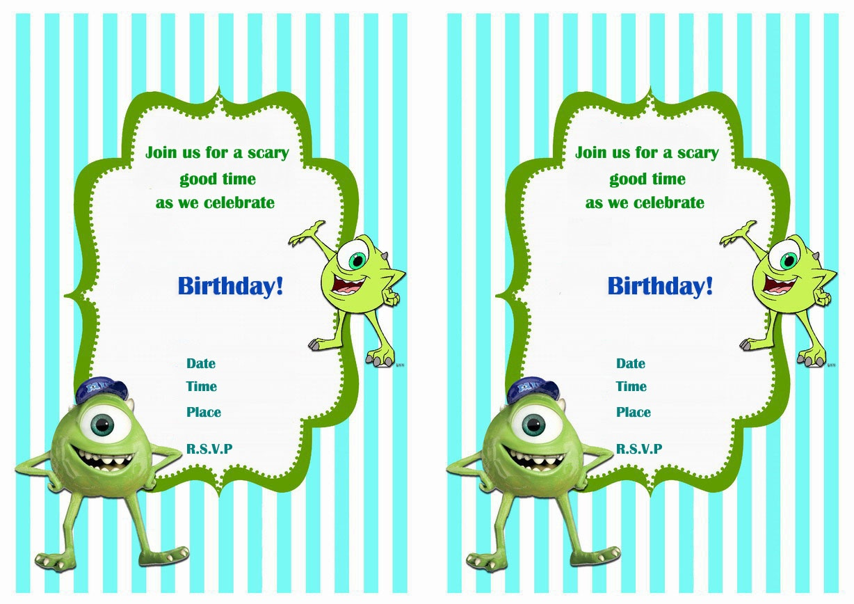 Monsters University Birthday Invitations | Birthday Printable - Free Printable Monsters Inc Birthday Invitations