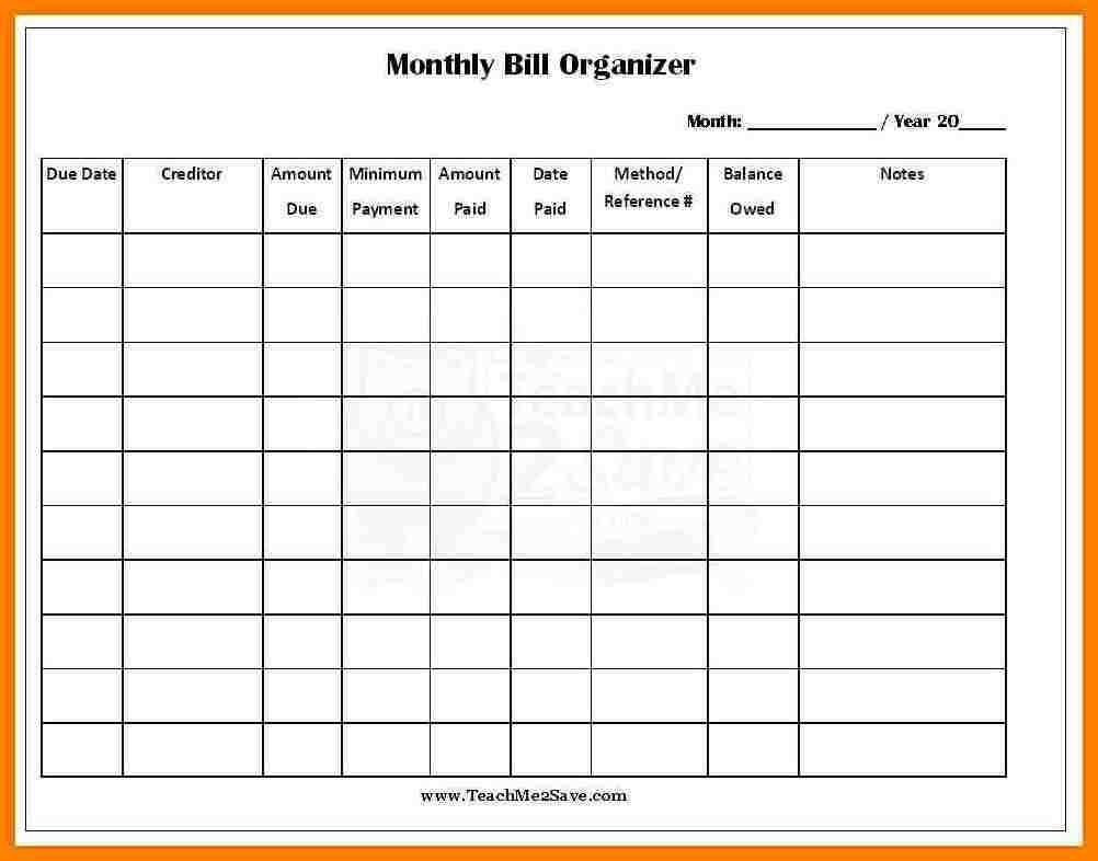 Monthly Bill Template Free Report Templates Spreadsheet Budget Excel - Free Printable Monthly Bill Payment Worksheet