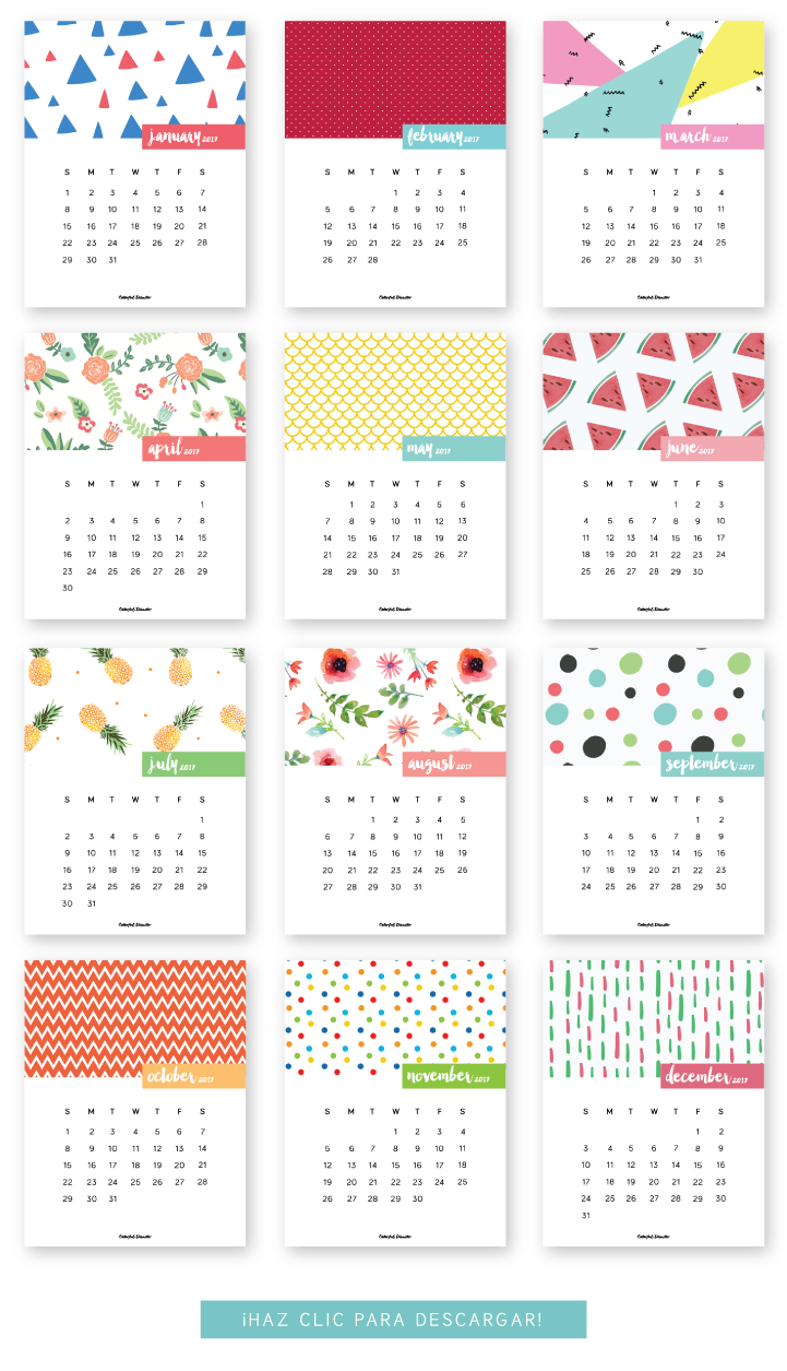 Monthly Printable Calendar 2017 | Clever Ideas | Calendar 2017, Free - Free 2017 Printable