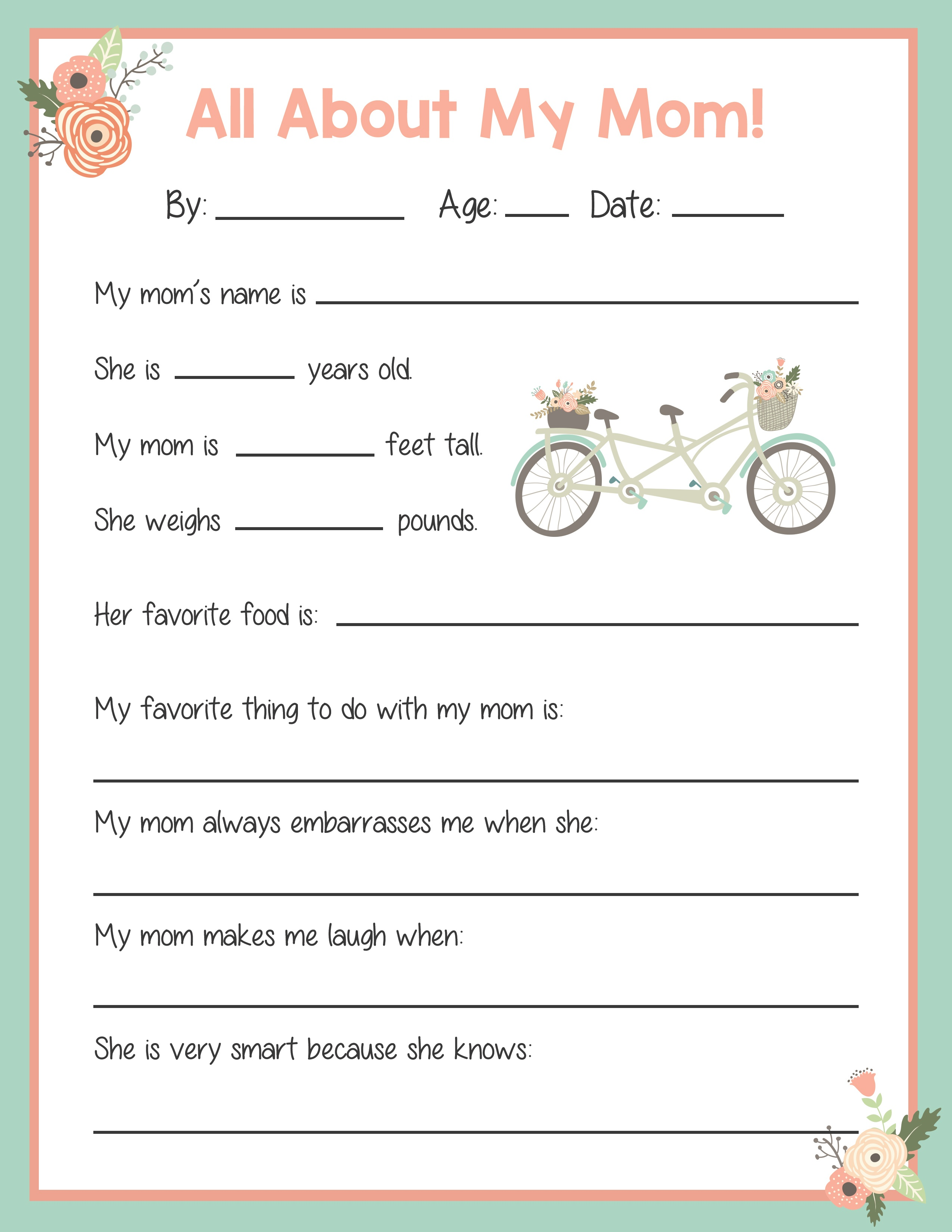 Mother's Day Card And Questionnaire - Precision Printables - Free Printable Mothers Day Questions