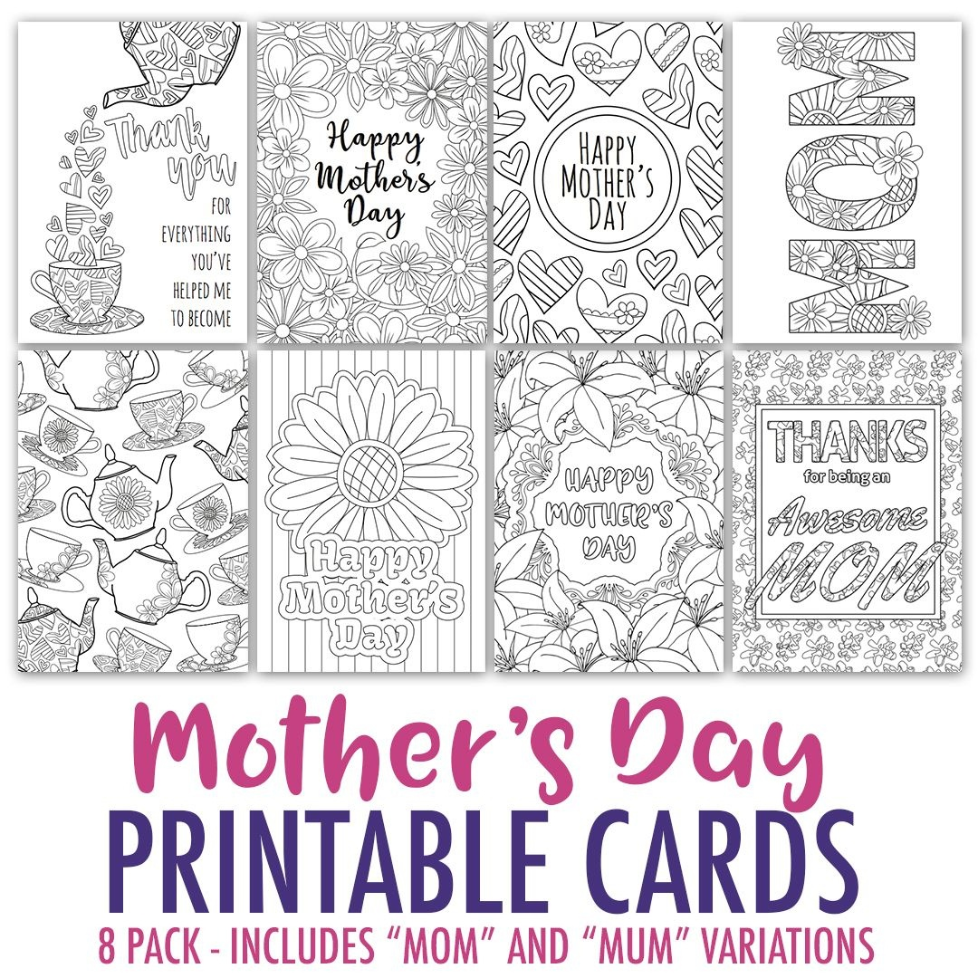 Mother's Day Coloring Cards   8 Pack   Activity Days   Mothers Day - Free Printable Mothers Day Coloring Cards