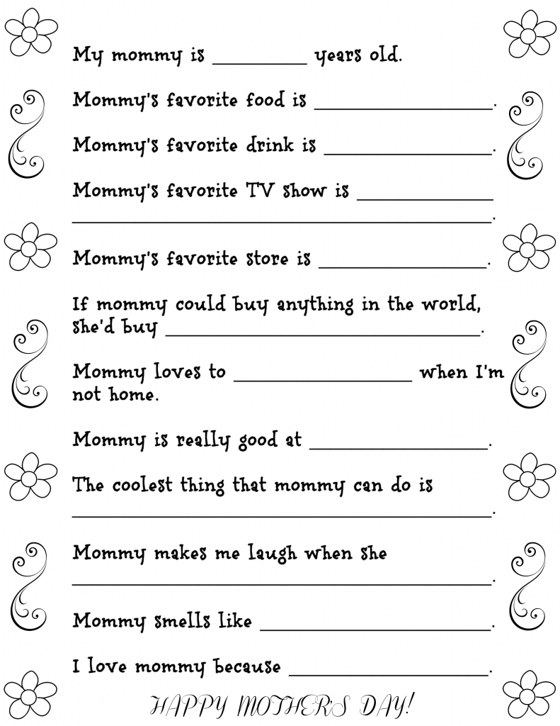 Mother's Day Questionnaire Free Printable | Fun Money Mom - Free Printable Mothers Day Questions