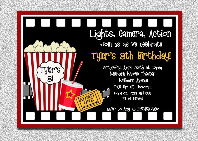 Movie Themed Party Invitations - Party Invitation Collection - Movie Night Birthday Invitations Free Printable