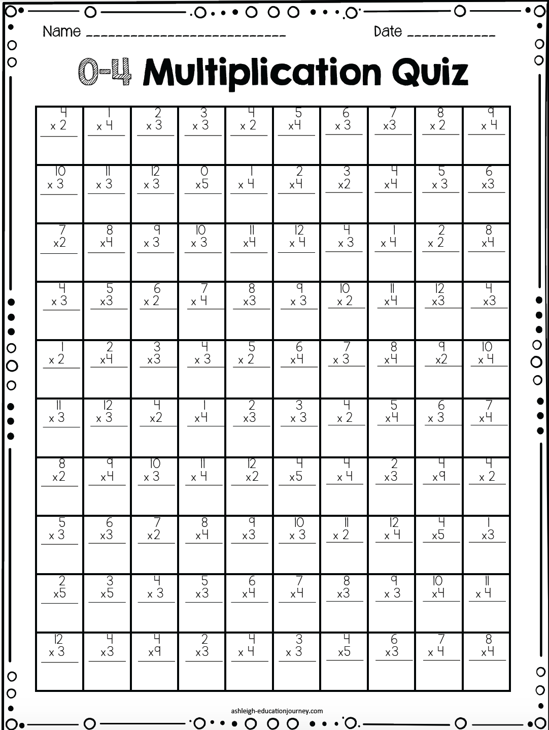 Multiplication Facts For Upper Elementary Students | Class - Free Printable Multiplication Timed Tests