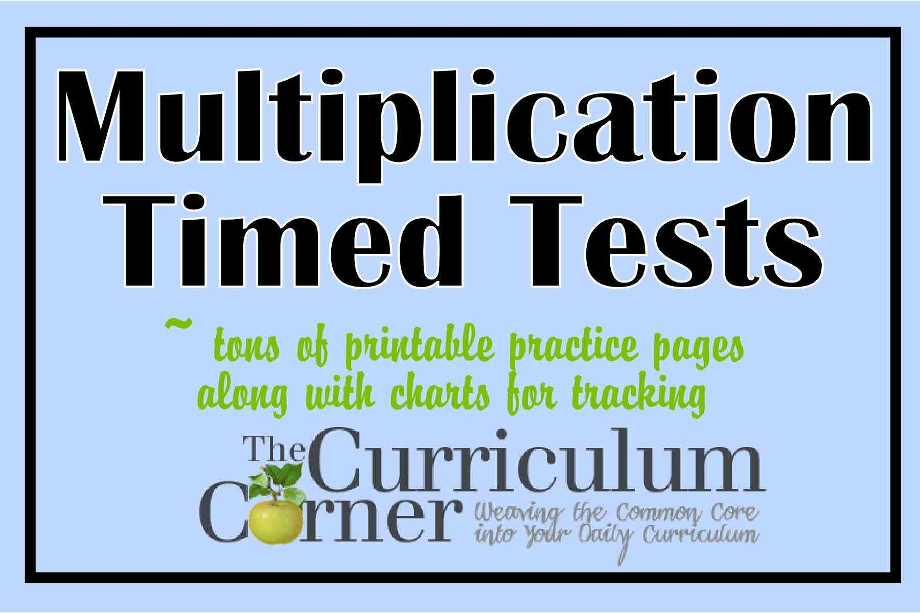 Multiplication Timed Tests - The Curriculum Corner 123 - Free Printable Multiplication Timed Tests