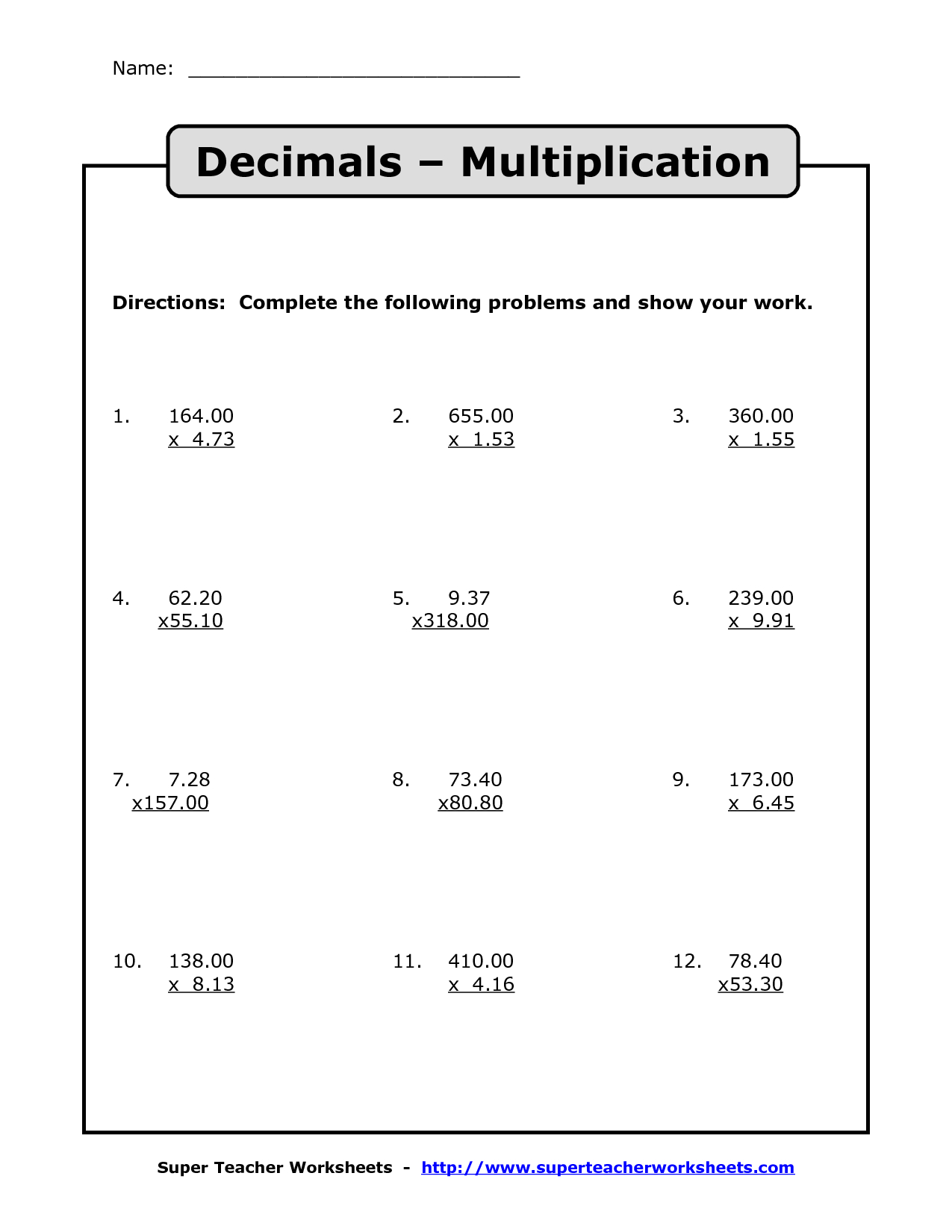 Multiplying Decimals   Multiplication With Decimals Worksheets - Multiplying Decimals Free Printable Worksheets