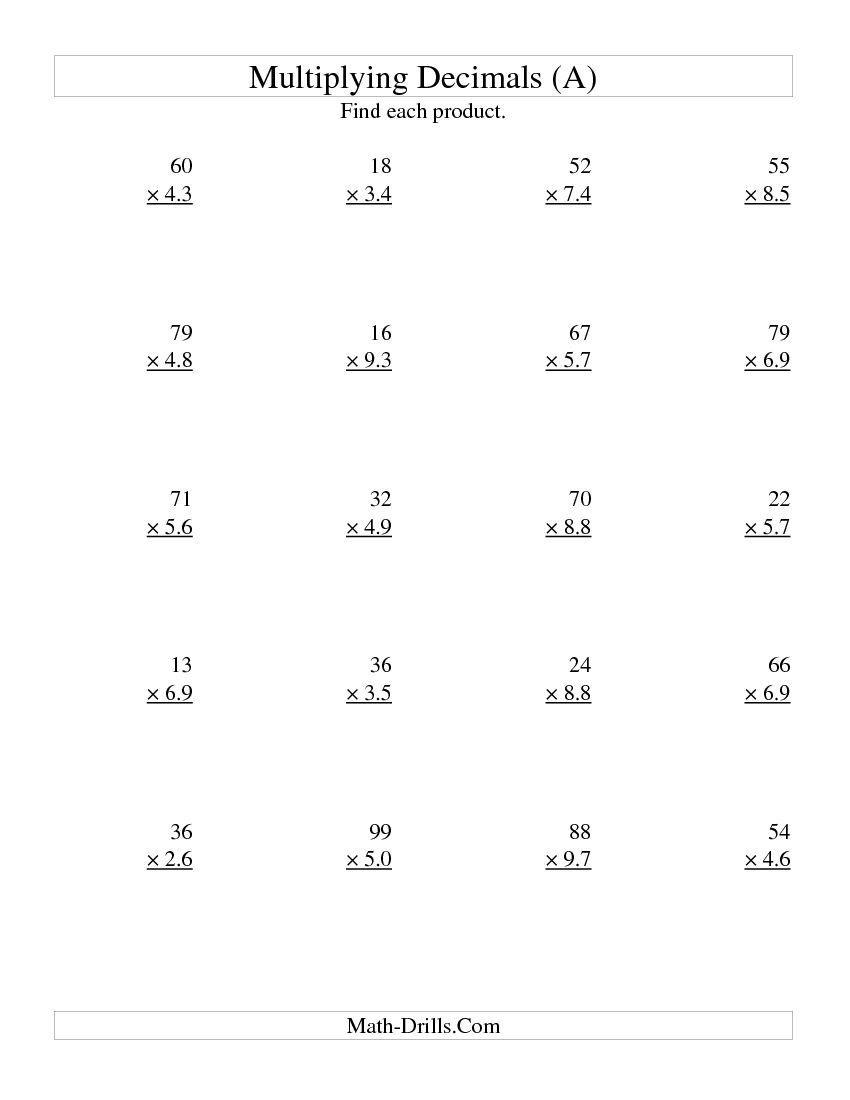 Multiplying Two-Digit Wholetwo-Digit Tenths (A) Math Worksheet - Free Printable Multiplying Decimals Worksheets