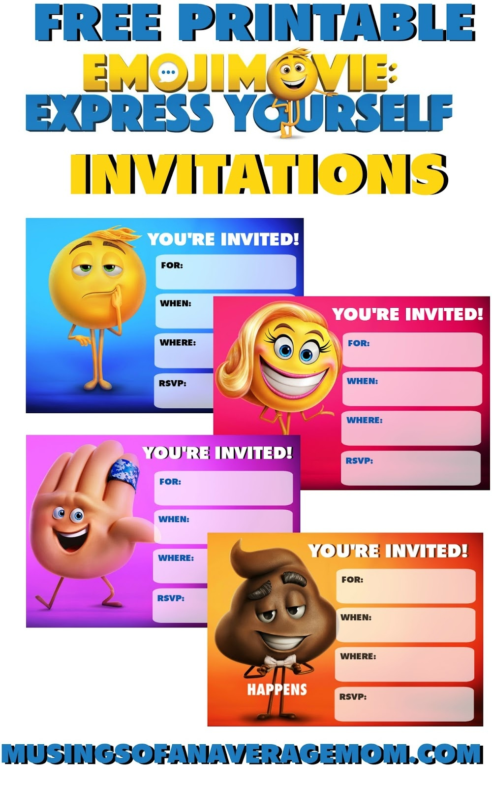 Musings Of An Average Mom: Emoji Movie Invitations - Free Printable Emoji B Day Invites