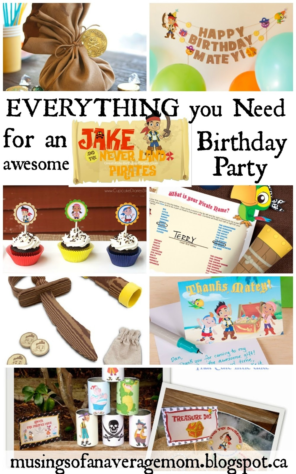 Musings Of An Average Mom: Free Printable Jake Party - Free Printable Jake And The Neverland Pirates Cupcake Toppers