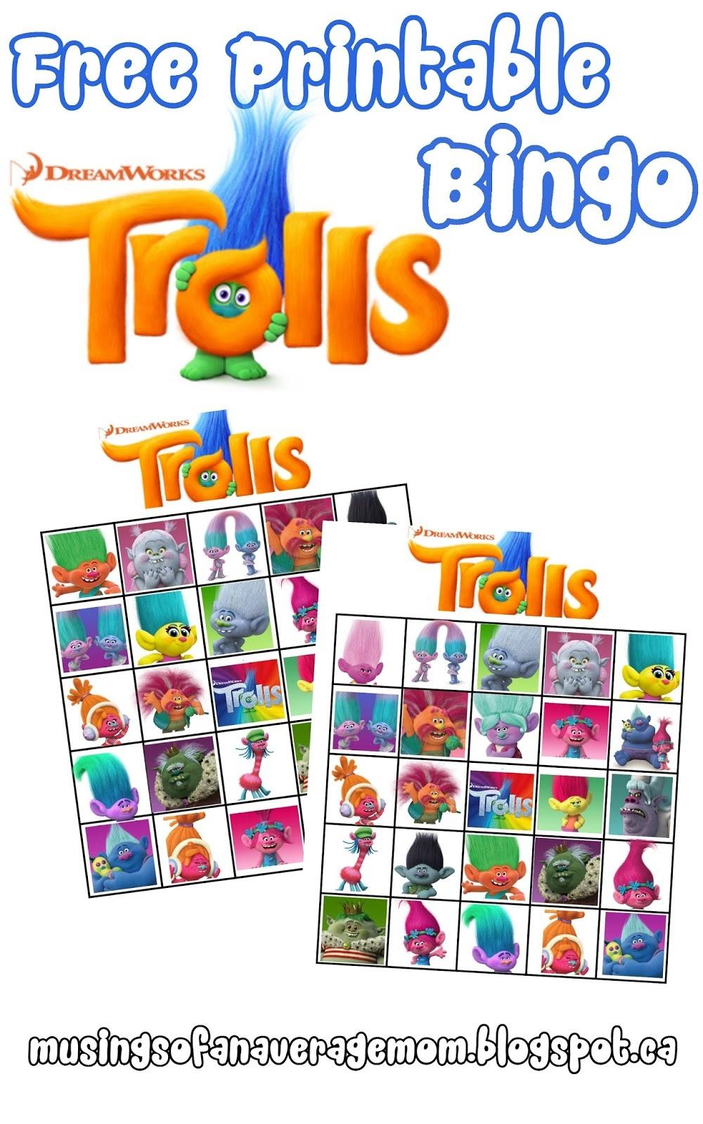 Musings Of An Average Mom: Free Printable Trolls Movie Bingo - Free Printable Trolls