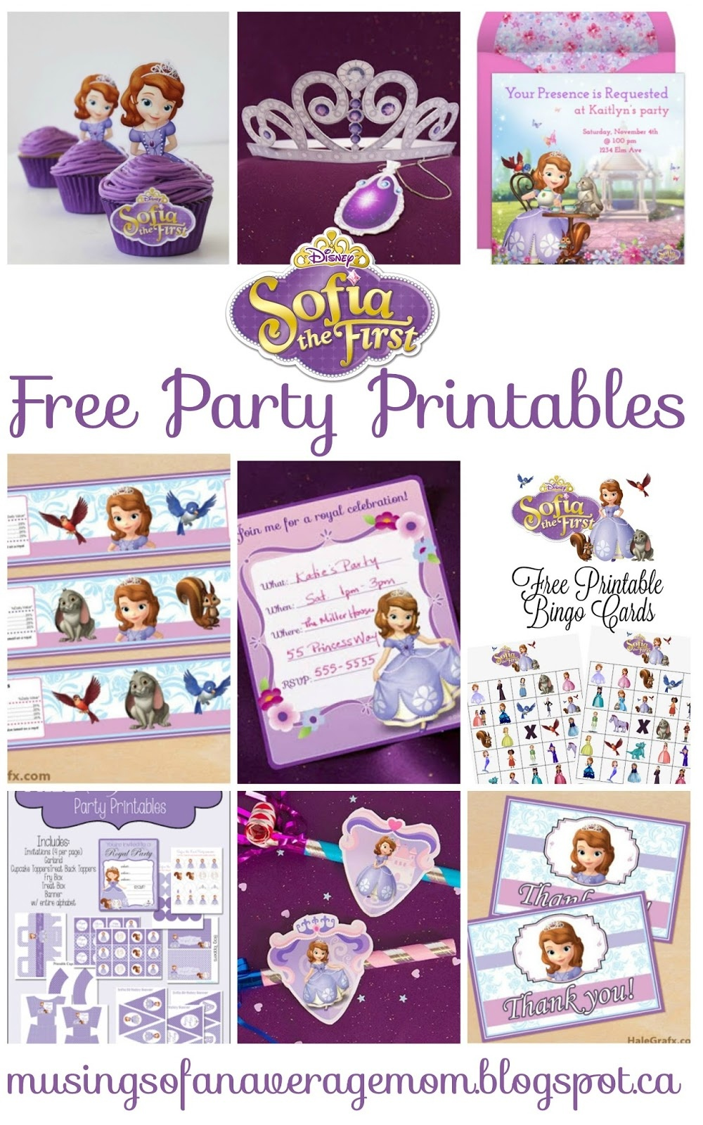 Musings Of An Average Mom: Sofia The First - Party Printables - Sofia The First Cupcake Toppers Free Printable