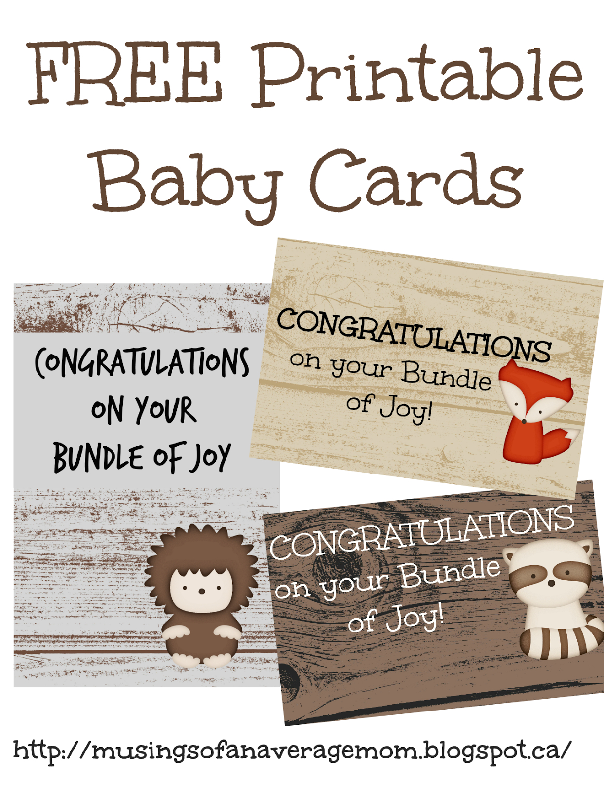Musings Of An Average Mom: Woodland Congratulations On Your New Baby - Free Printable Congratulations Baby Cards