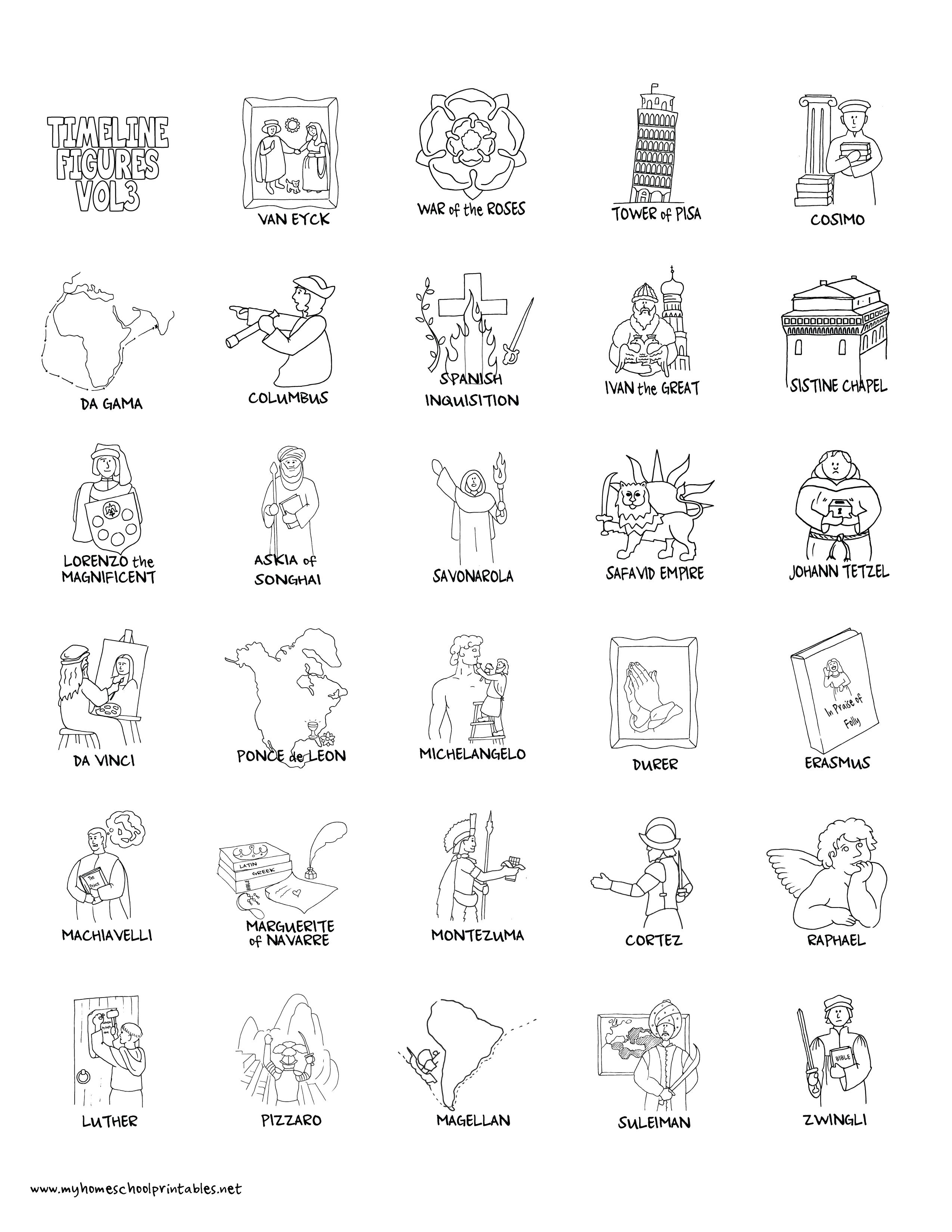 My Homeschool Printables » Timeline Figures – Volume 3 - Free Printable Timeline Figures
