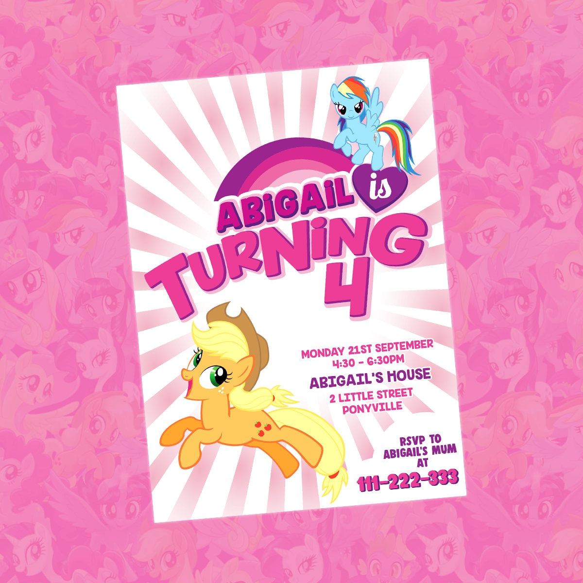 My Little Pony Invitation My Little Pony Birthday Invitation | Etsy - Free Printable My Little Pony Thank You Cards