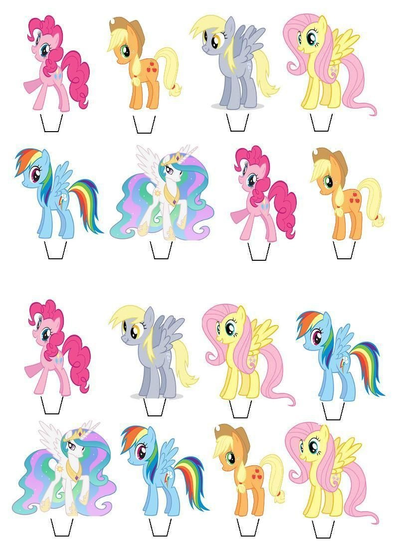 My Little Pony Stand Up Cupcake Cake Toppers Edible Paper - Free Printable My Little Pony Cupcake Toppers