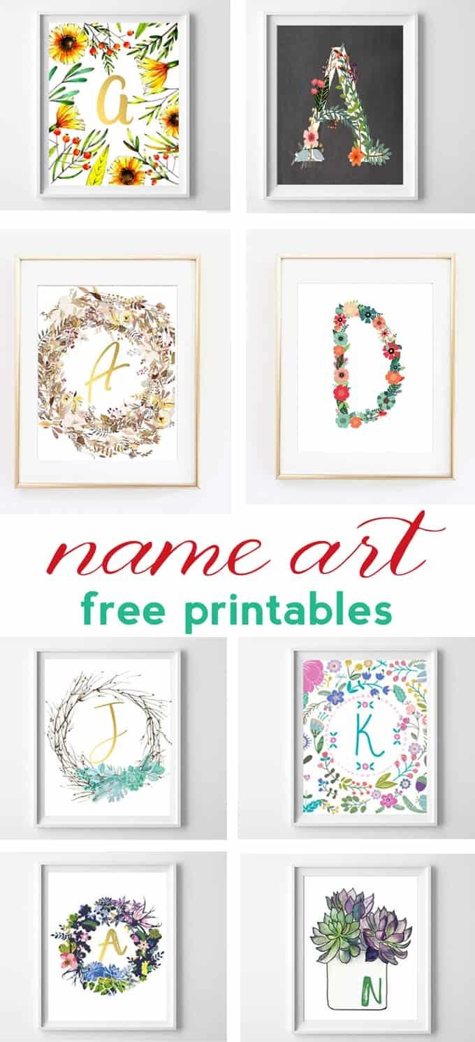Name Art And Alphabet Printables {Free Printable Art} - Free Printable Decor
