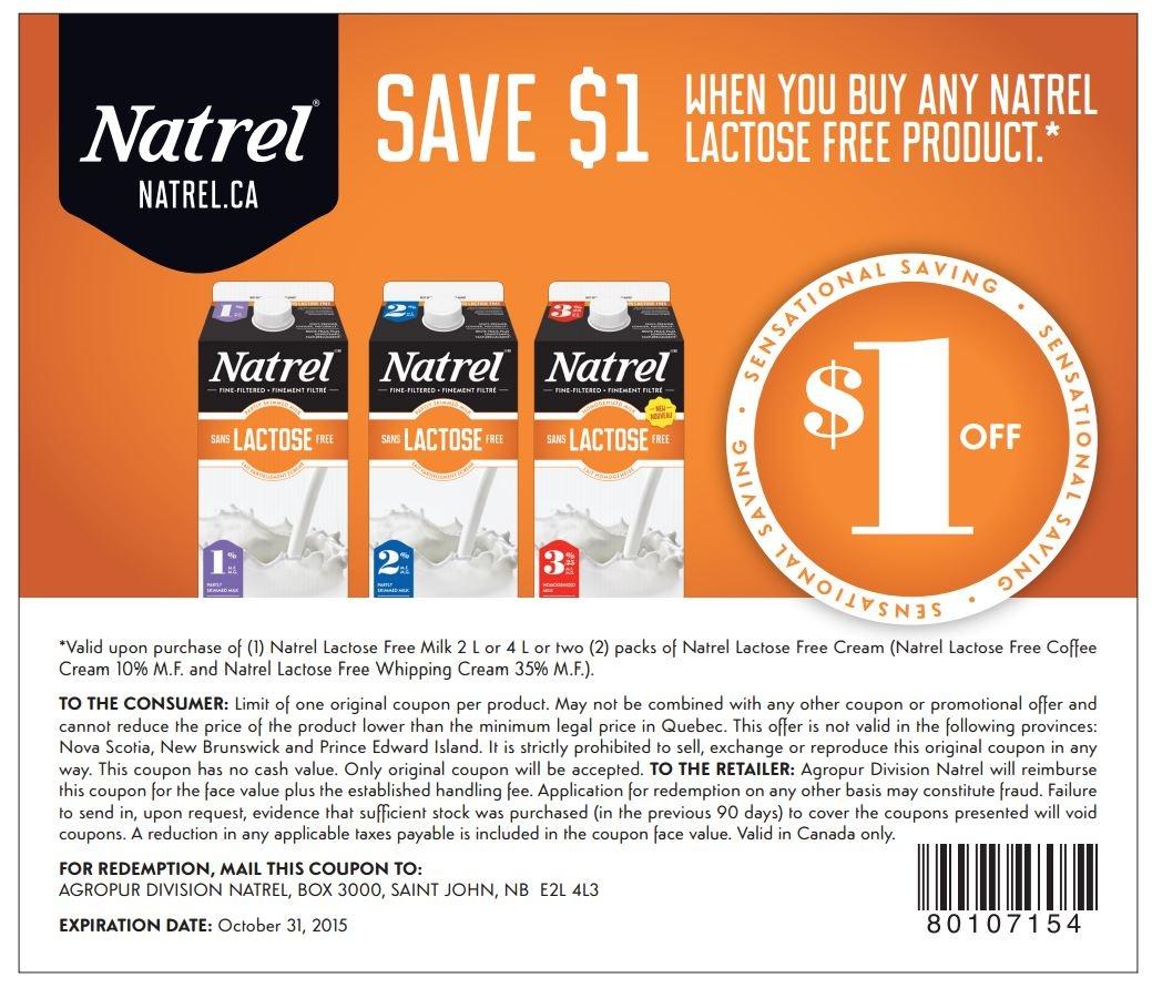 Natrel Lactose-Free - Details - Free Milk Coupons Printable