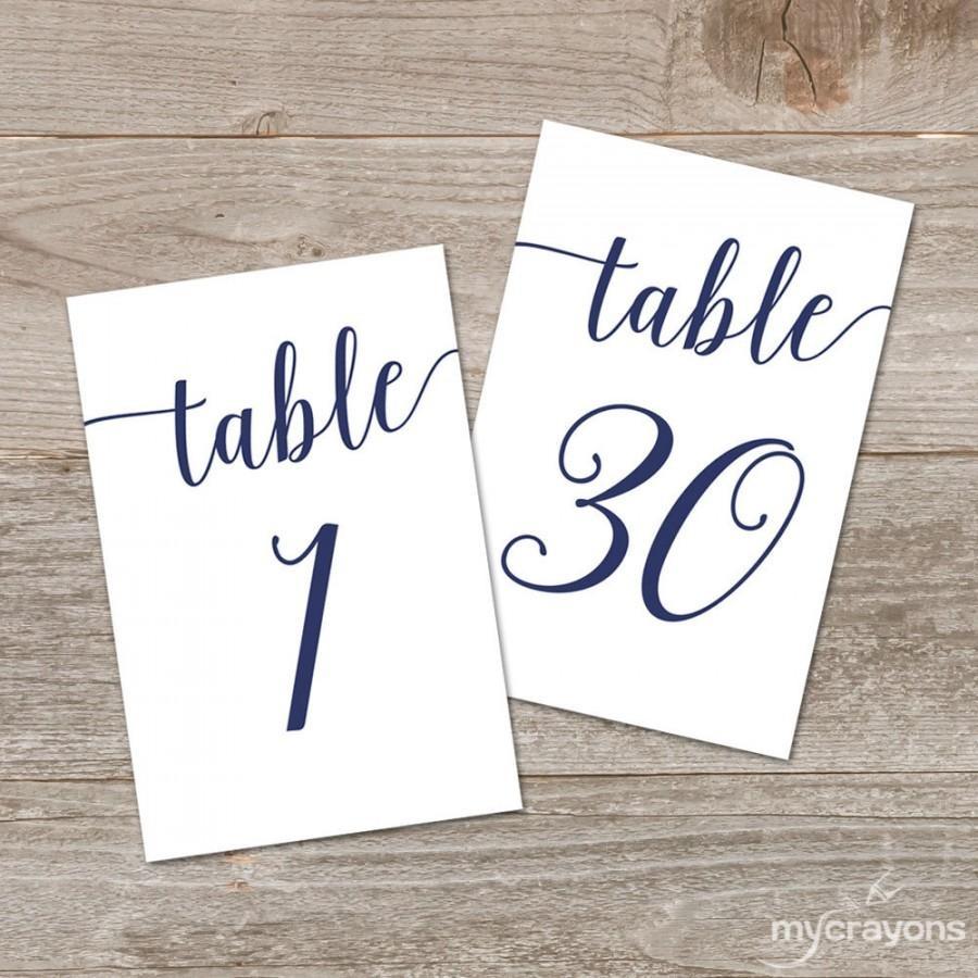 Navy Script Table Numbers, Bella Script Printable Table Numbers 1-30 - Free Printable Table Numbers 1 30