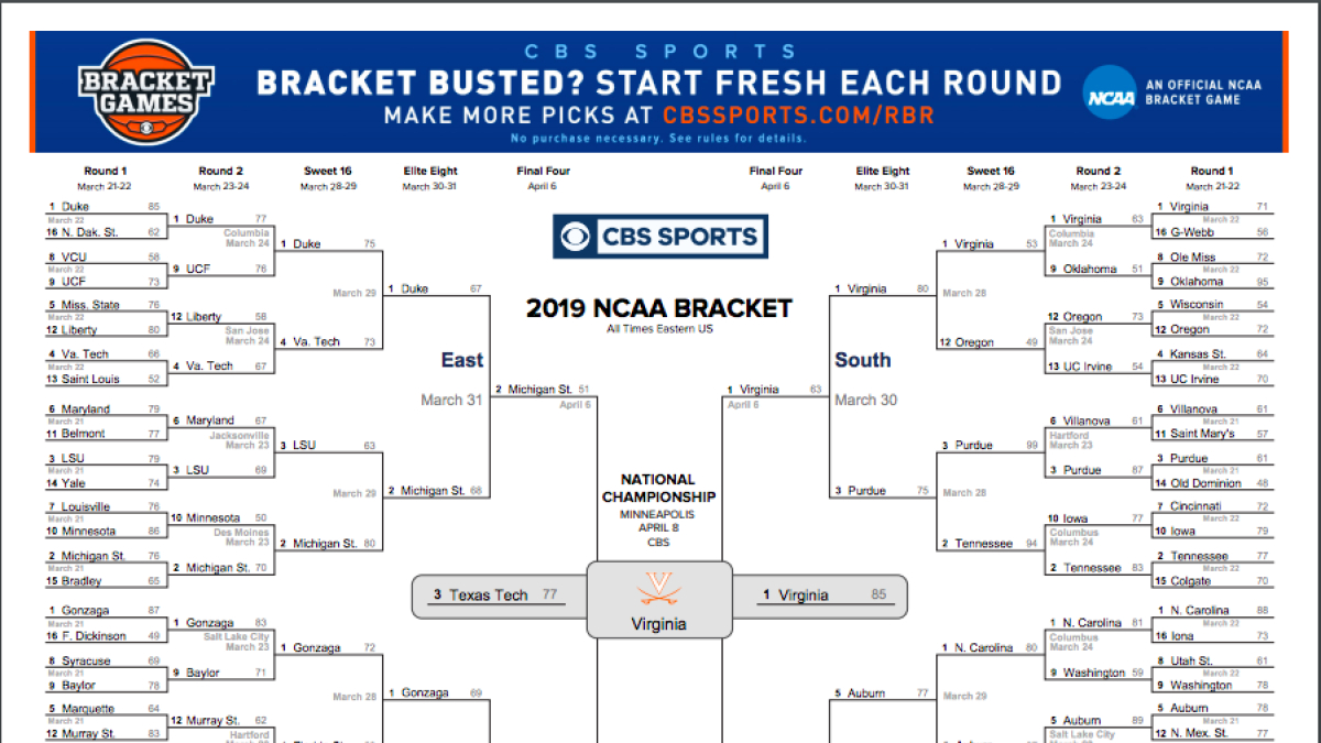 Ncaa Bracket 2019: Check Out How Virginia Was Able To Claim The - Free Printable Brackets Ncaa Basketball