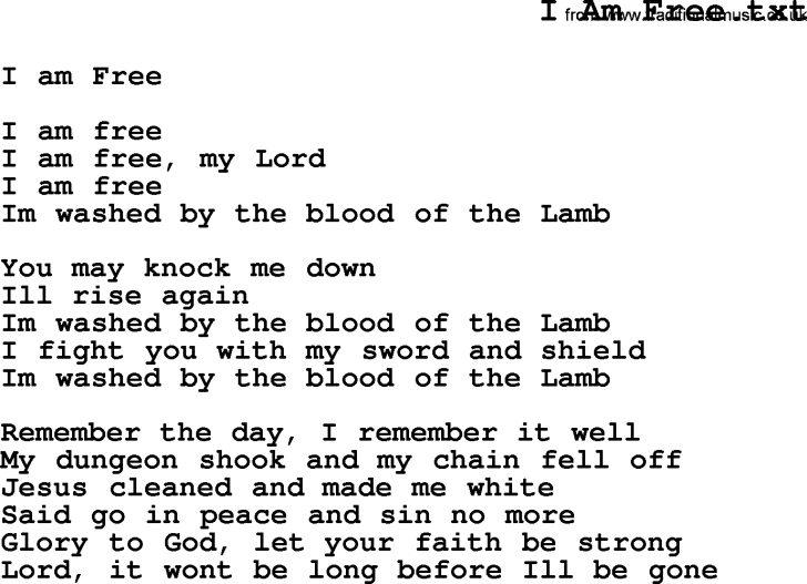 Free Printable Song Lyrics