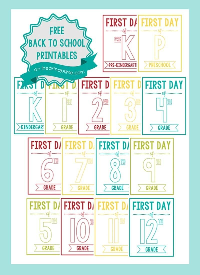 New Back To School Printable Signs - I Heart Nap Time - Free Printable Back To School Signs