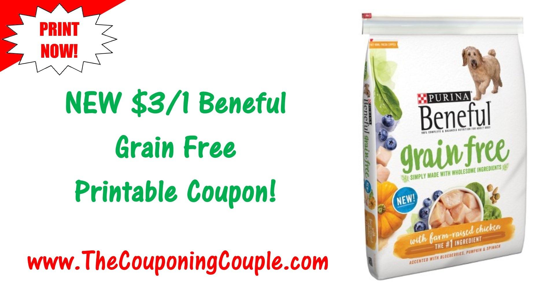New Beneful Printable Coupon ~ $3.00/1 Beneful Grain Free Dog Food! - Free Printable Dog Food Coupons