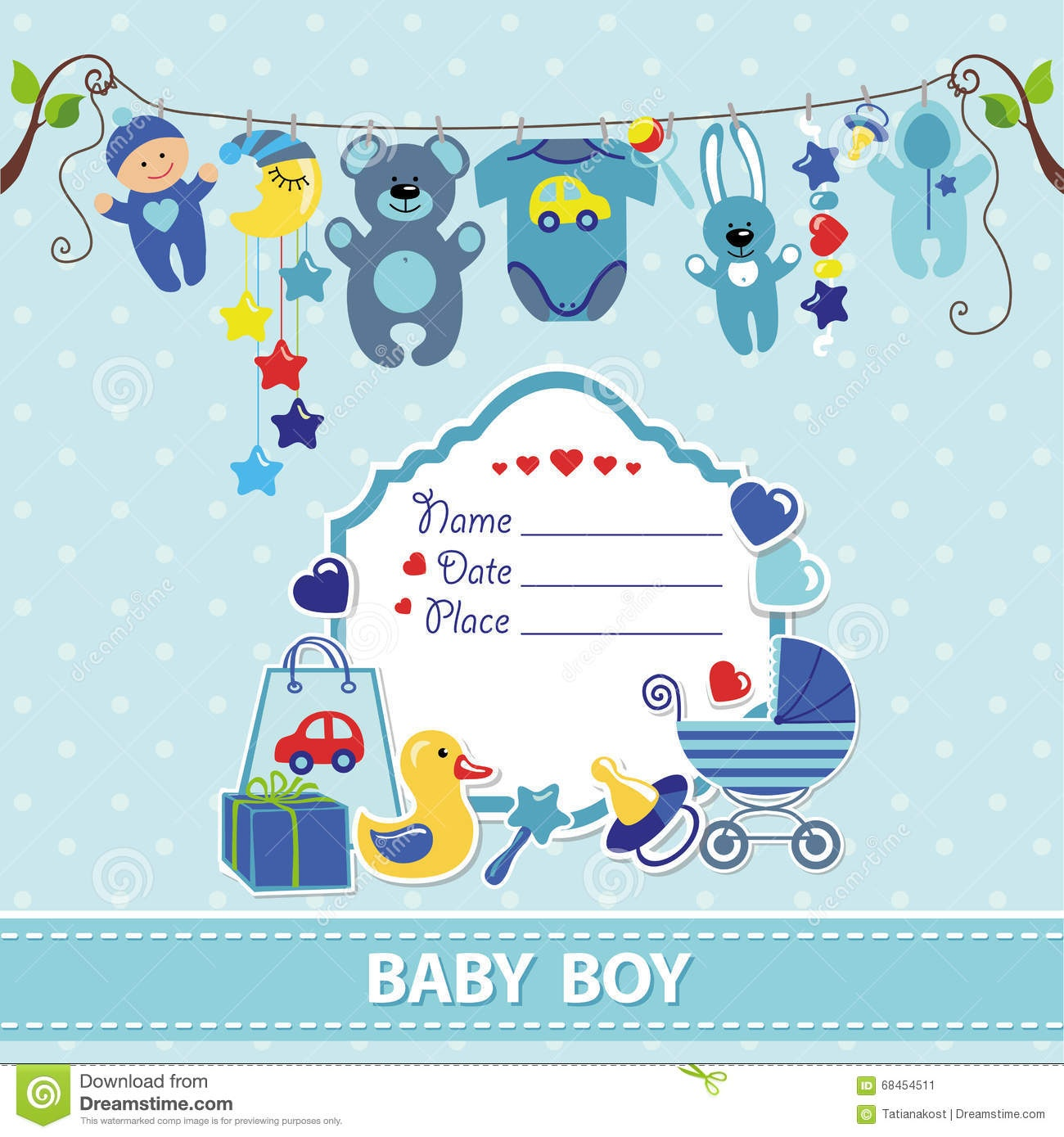 New Born Baby Boy Card Shower Invitation Template Stock Vector - Free Printable Baby Boy Cards