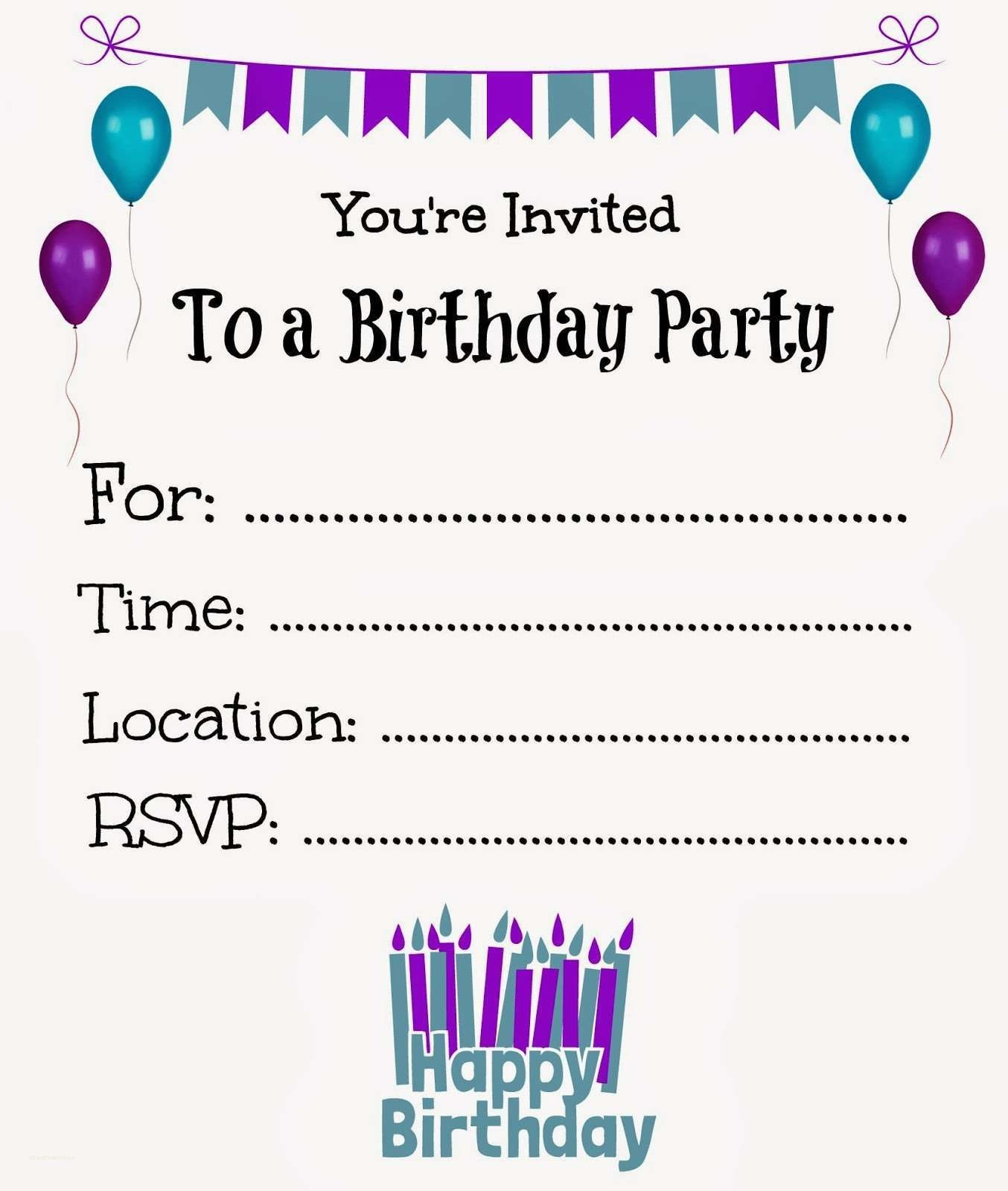 New Free Online Printable Birthday Party Invitations | Holiday - Free Printable Birthday Invitations For Him