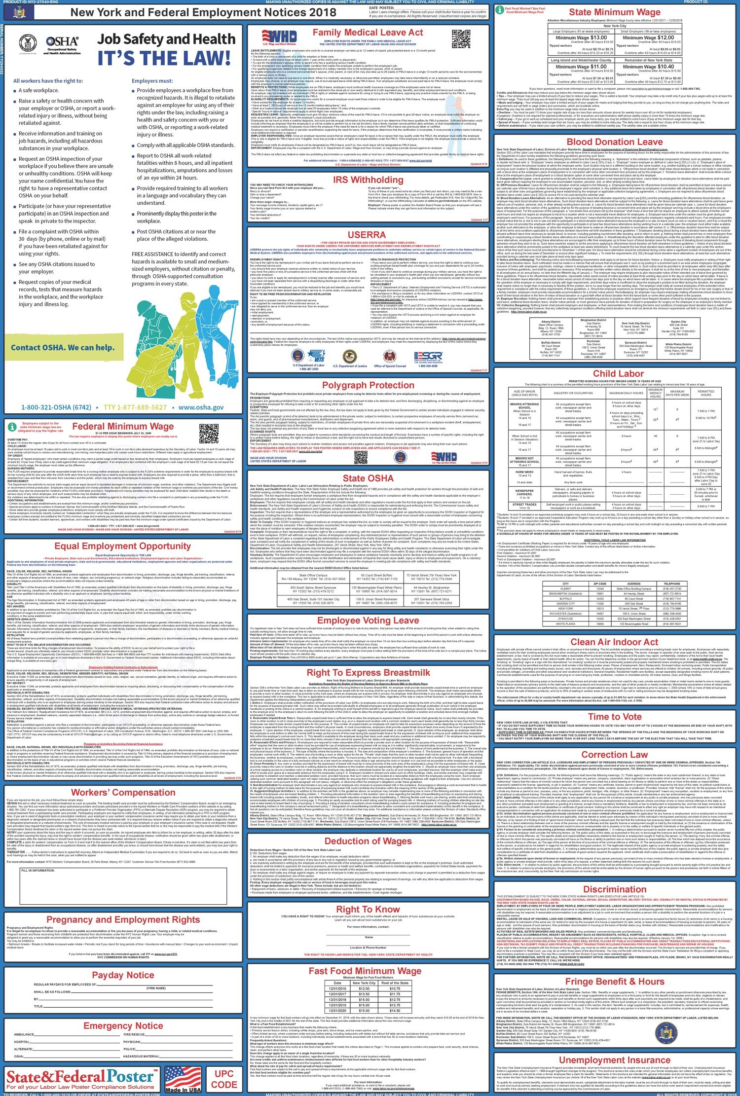 New York State And Federal Labor Law Poster 2019 | State & Federal - Free Printable Osha Posters