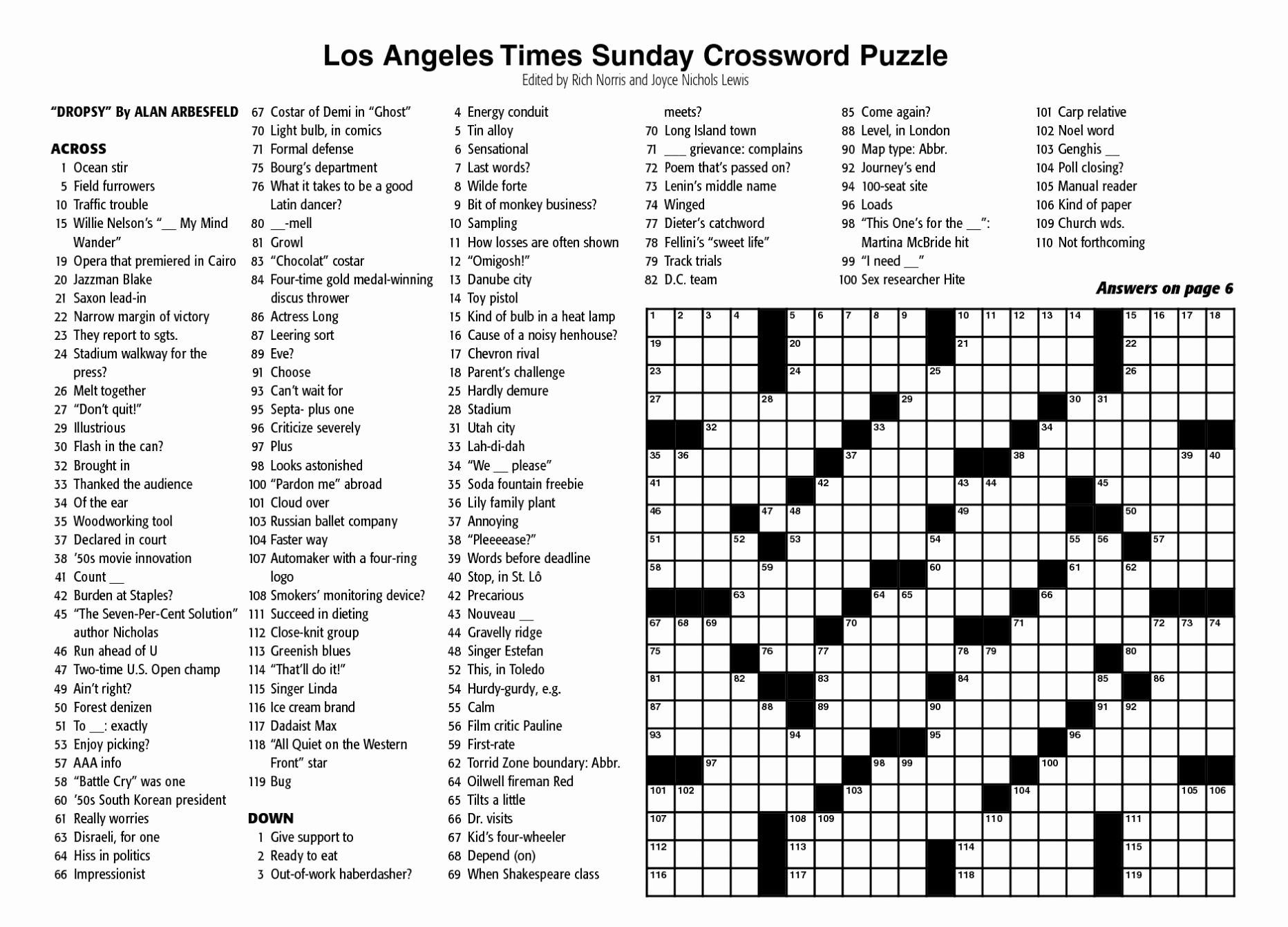 Free Printable Ny Times Crossword Puzzles  Free Printable