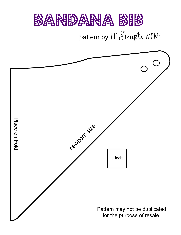 Newborn Bandana Bib Diy :: Printable Pattern + Tutorial – The Simple - Free Printable Bib Pattern