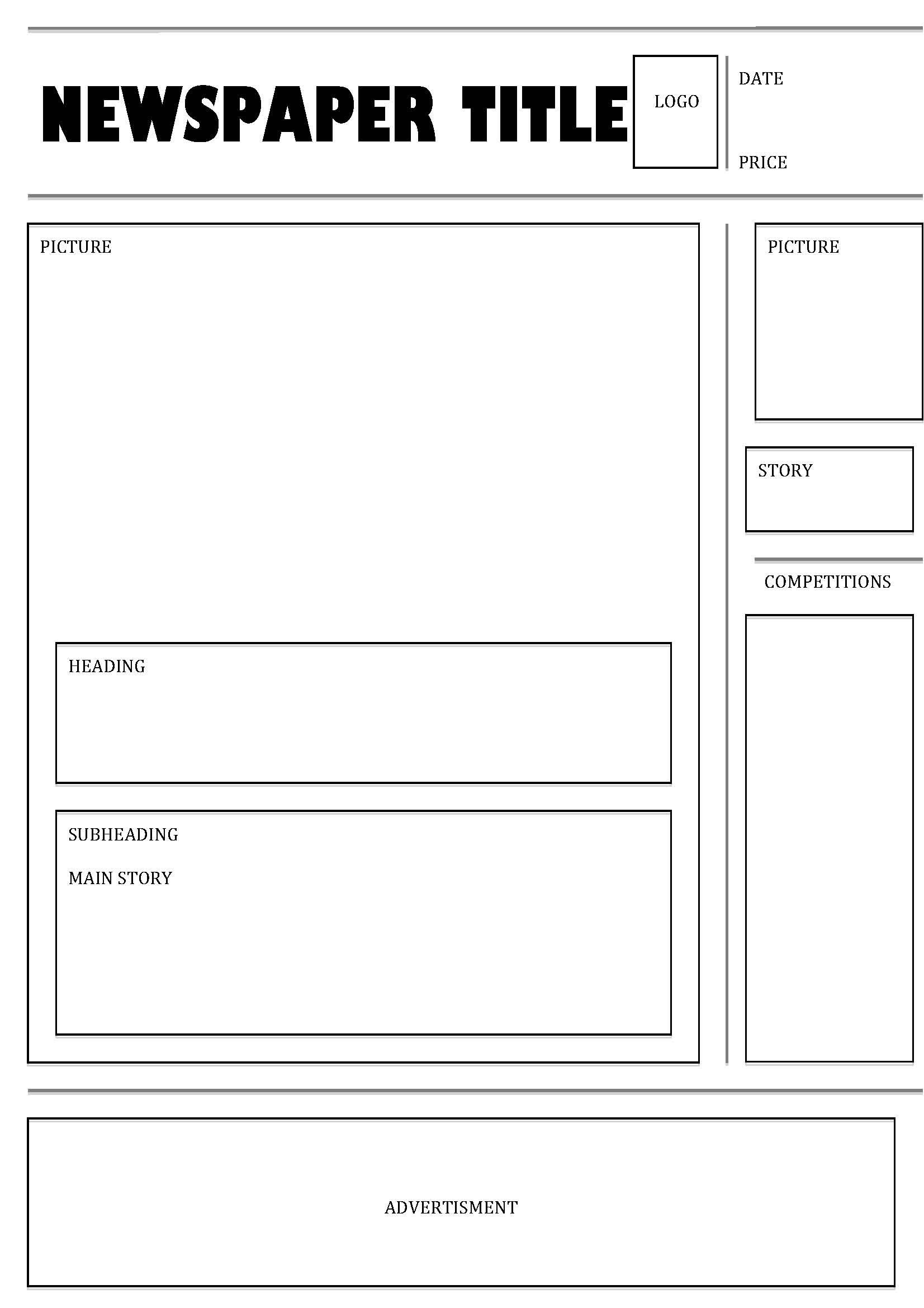 Newspaper Template Psd Format | Printable Templates | Indesign - Free Printable Newspaper Templates For Students