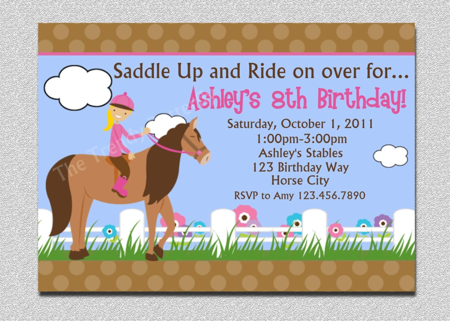 Nice Free Template Free Printable Horse Birthday Party Invitations - Free Printable Horse Themed Birthday Party Invitations