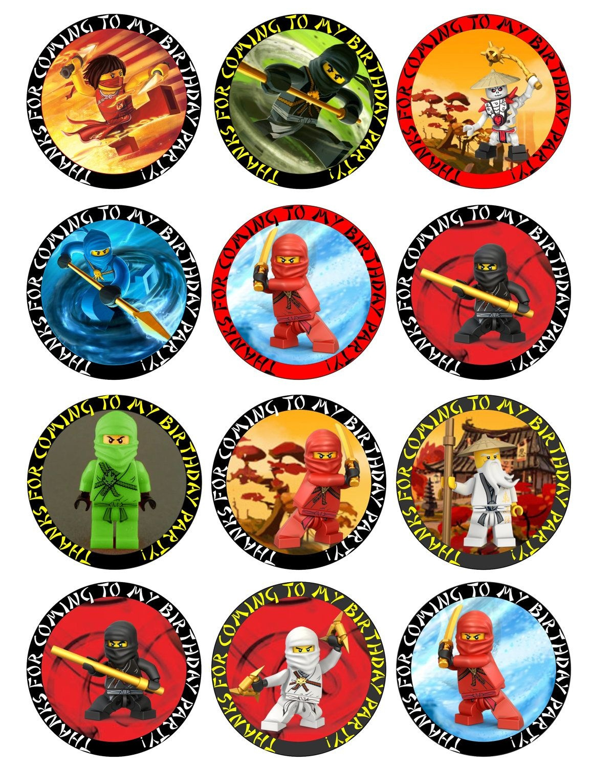 Ninjago (Circle Or Square) Printable Birthday Party Cupcake Toppers - Batman Cupcake Toppers Free Printable