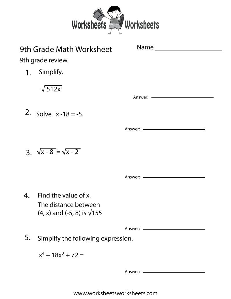 Ninth Grade Math Practice Worksheet Printable   Teaching   Math - 9Th Grade Science Worksheets Free Printable