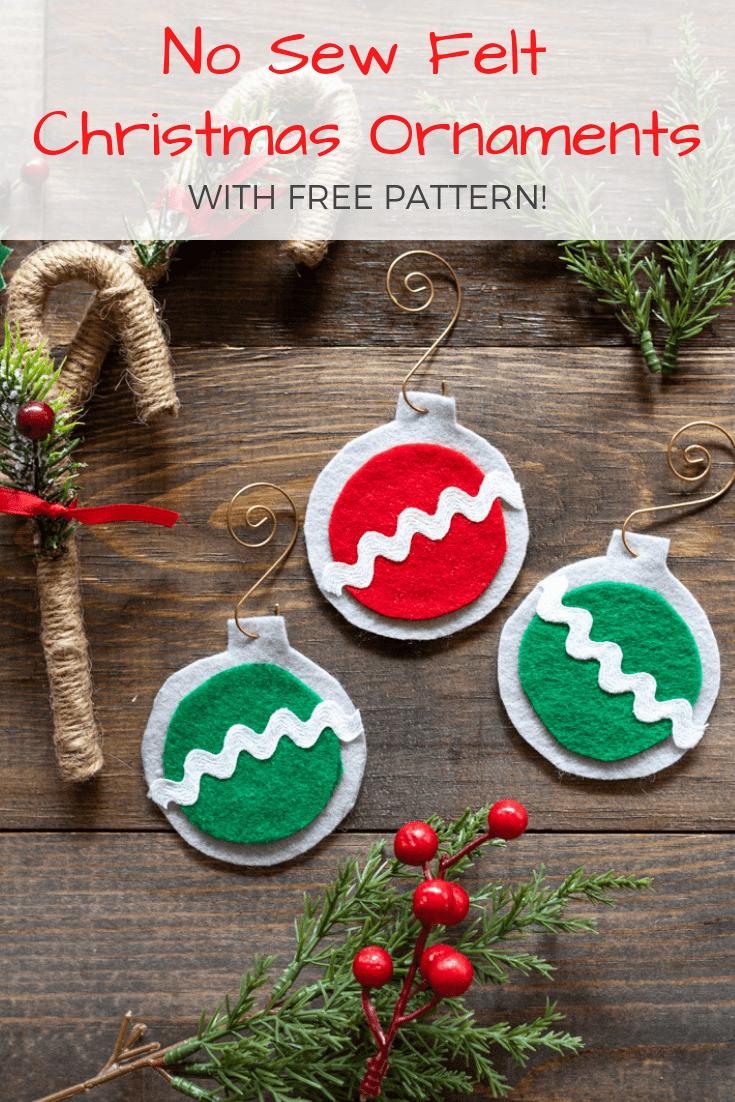 No Sew Easy Felt Christmas Ornaments - The Artisan Life - Free Printable Christmas Ornaments