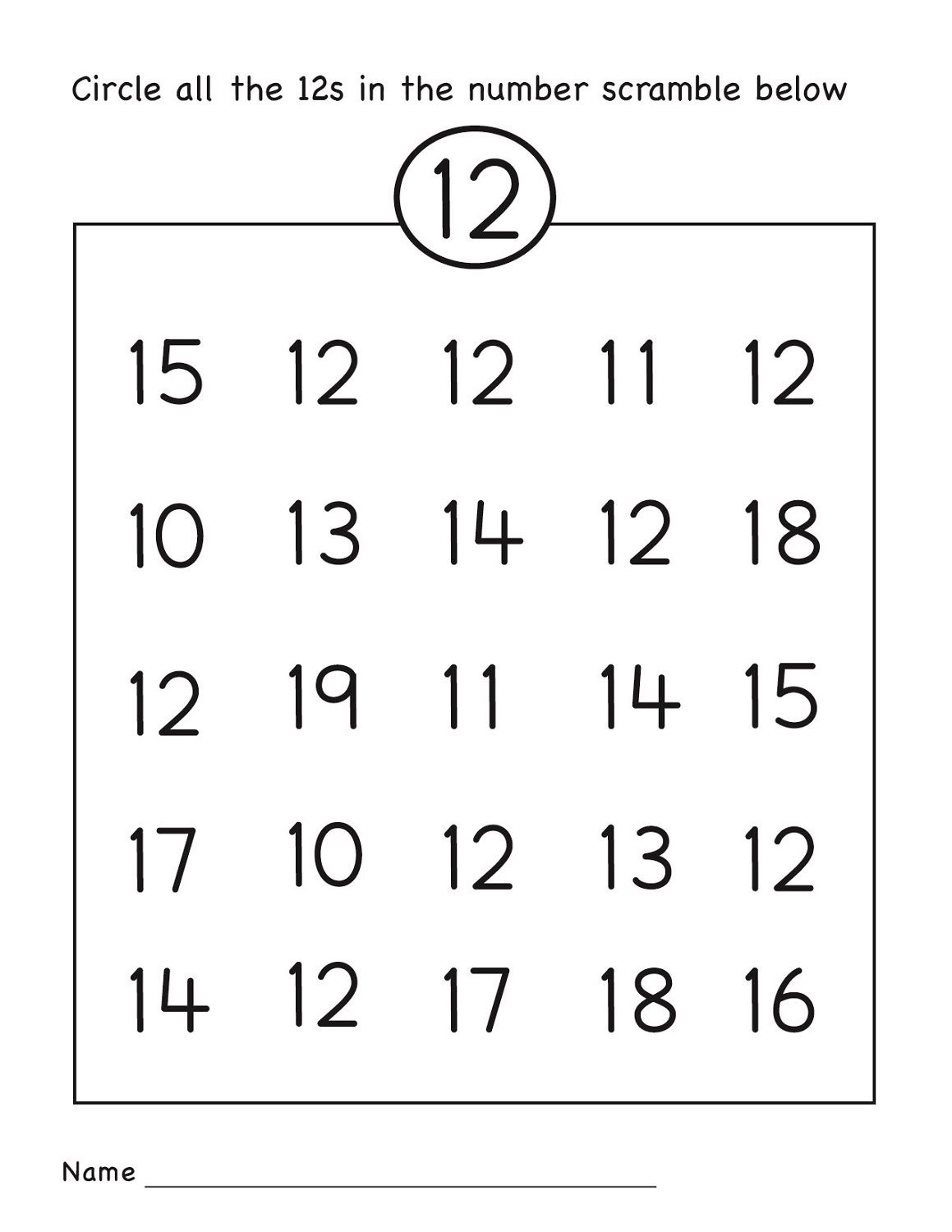 Number 12 Worksheets Easy | Numbers 11-20 | Preschool Worksheets - Free Printable Number Worksheets