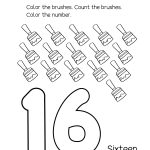 Number 16 Writing, Counting And Identification Printable Worksheets   Free Printable Number Worksheets