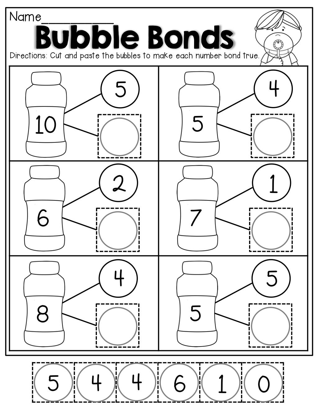 Number Bubble Bonds (Cut And Paste)   Kindergarten Activities   Math - Free Printable Number Bonds Worksheets For Kindergarten