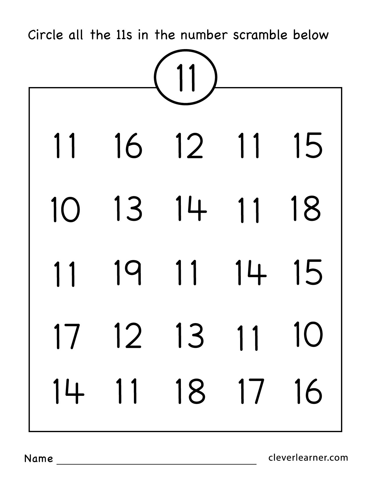 Number Eleven Writing, Counting And Identification Printable - Free Printable Number Worksheets