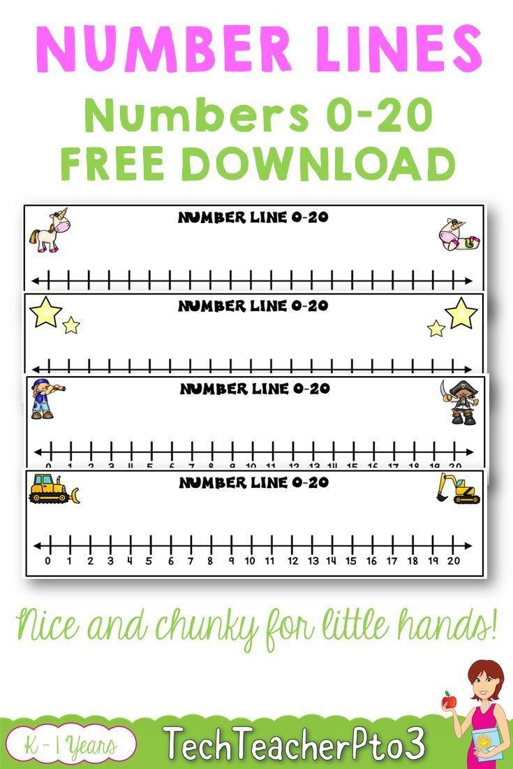 Number Lines 0 To 20 Unicorns Stars Construction Pirates Free - Free Printable Number Line