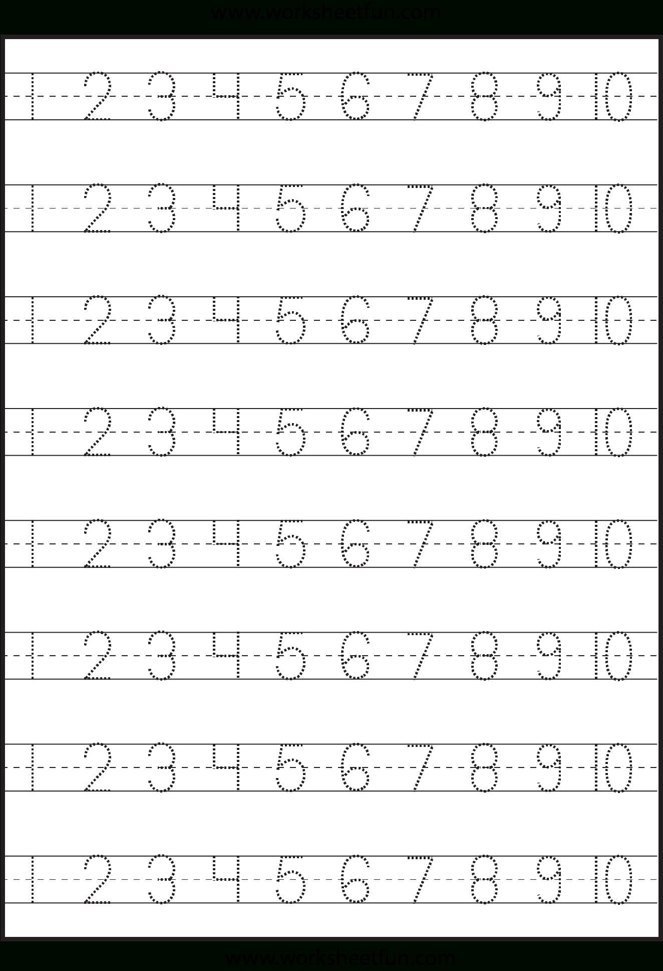 Number Tracing – 1-10 – Worksheet / Free Printable Worksheets - Free Printable Counting Worksheets 1 20