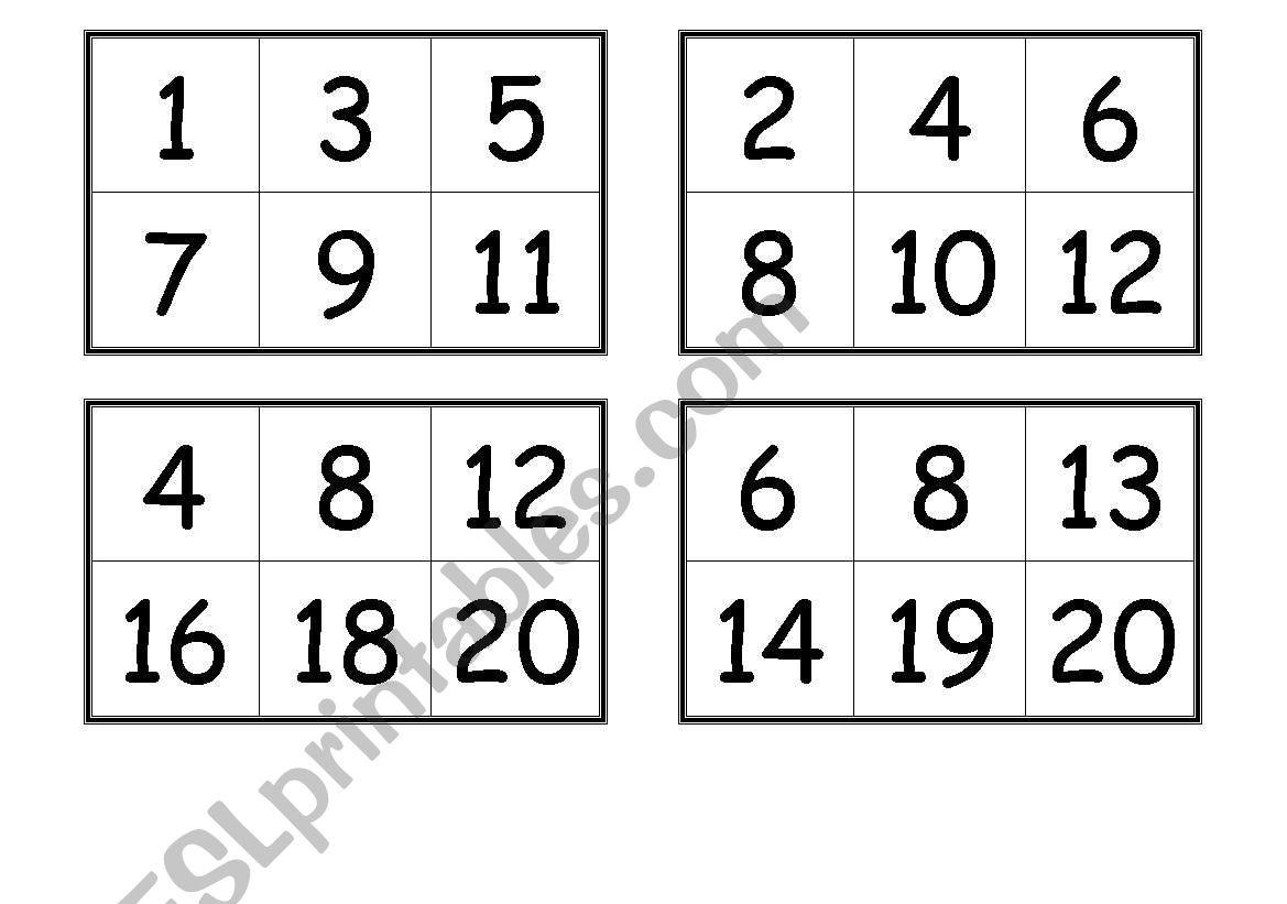 Numbers Bingo Cards (From 1 To 20) - Esl Worksheetcreguen - Free Printable Bingo Cards 1 100