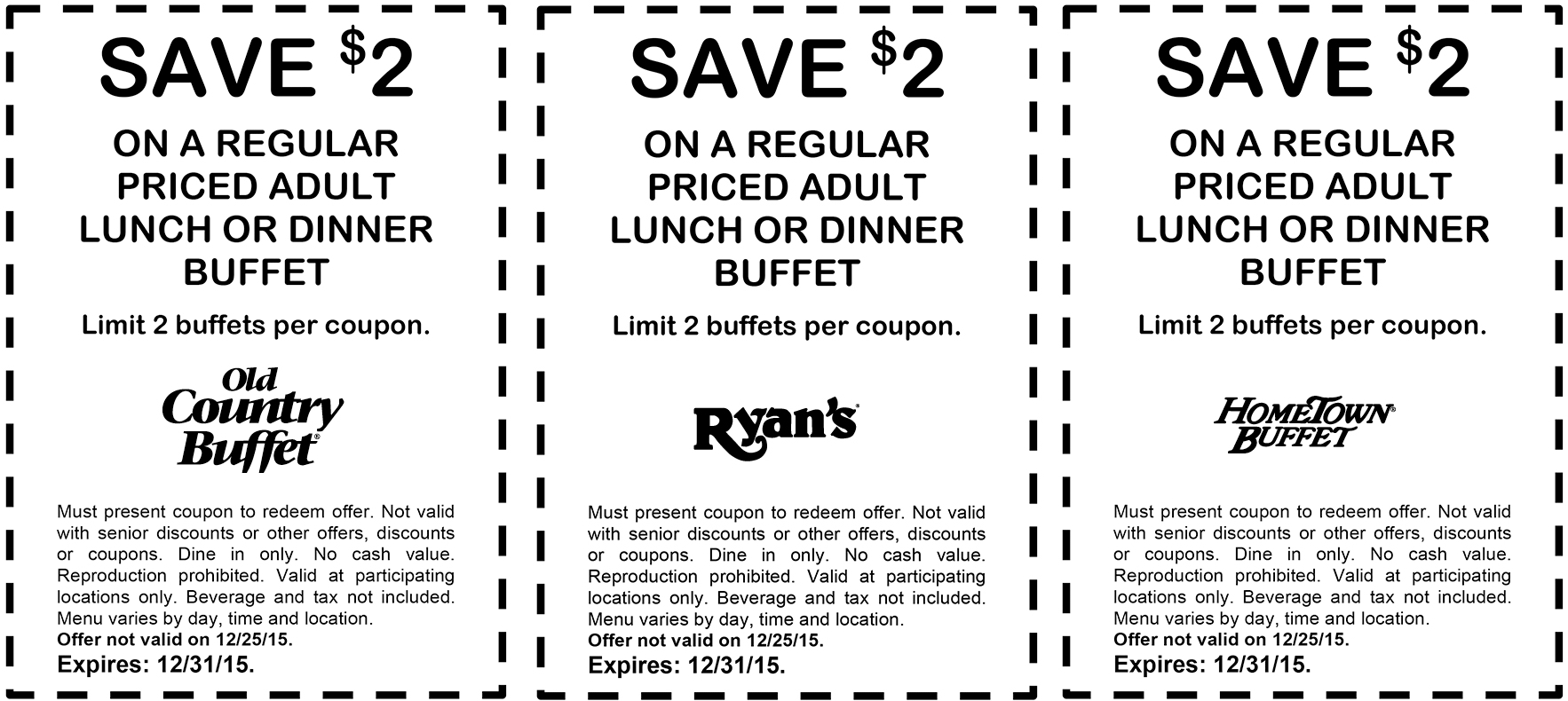 Old Country Buffet Coupons - $2 Off Your Buffet At Ryans, Hometown - Old Country Buffet Printable Coupons Buy One Get One Free