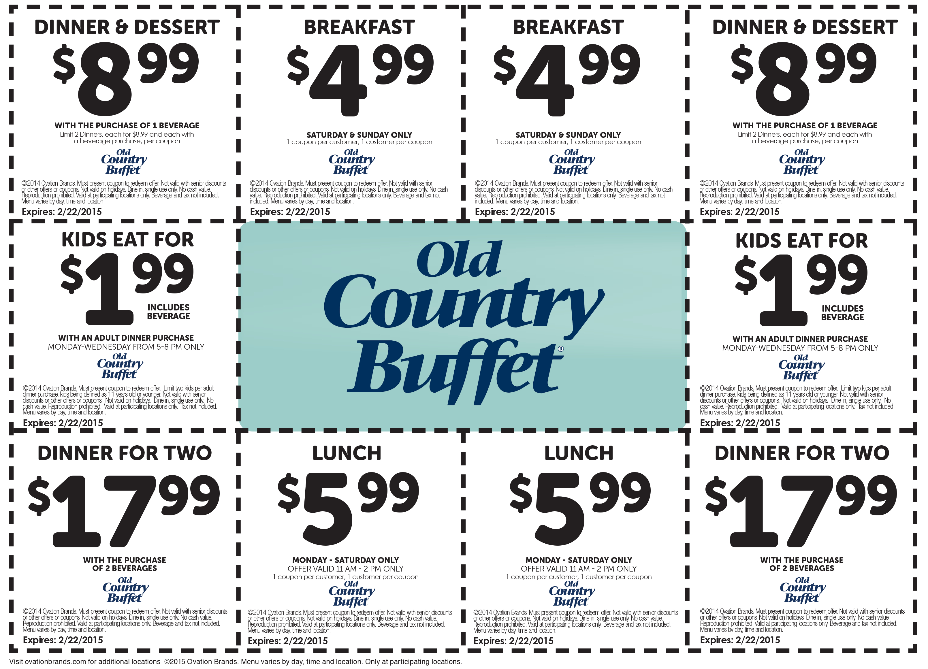 Old Country Buffet Coupons - $5 Breakfast, $6 Lunch & More At Old - Old Country Buffet Printable Coupons Buy One Get One Free