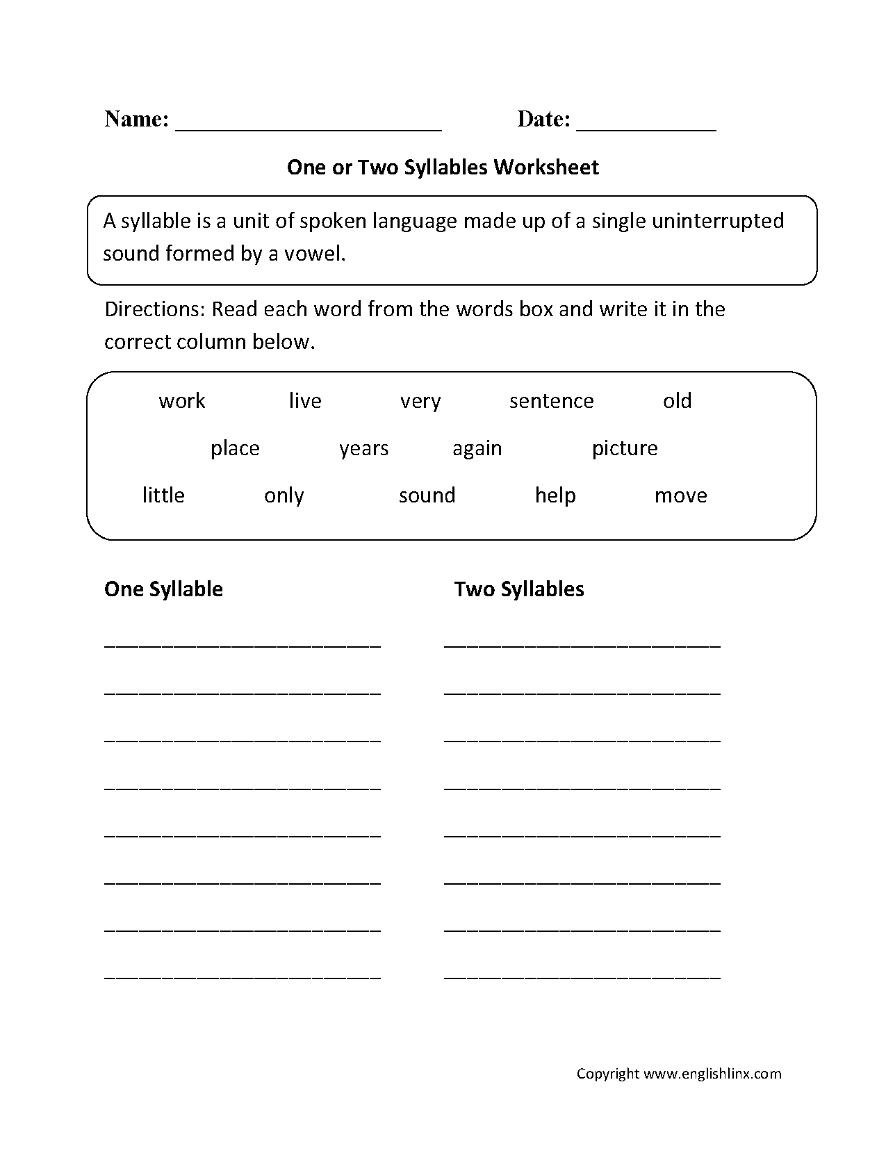 One Or Two Syllables Worksheet | 1 | Syllable, Speech Therapy - Free Printable Open And Closed Syllable Worksheets