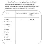 One, Two, Three Or Four Syllable Words Worksheet | Syllables   Free Printable Open And Closed Syllable Worksheets
